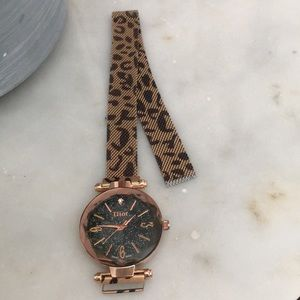 Leopard band copper color Dior watch